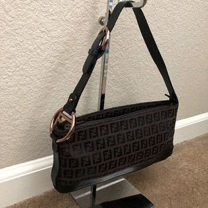 Fendi Logo Leather & Canvas Baguette Shoulder Bag